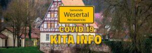 Altes Rathaus Gieselwerder mit Covid19 Kita-Info-Schriftzug
