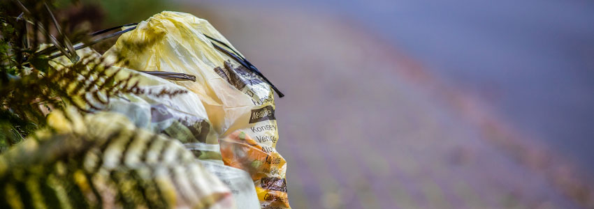 Gelber Sack am Straßenrand in der Gemeinde Wesertal